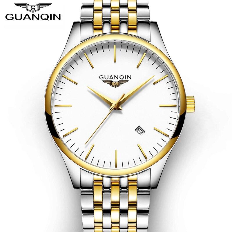 Top Brand GUANQIN 2016 New Watches Men Fashion Full Steel Quartz Watch Male Slim Waterproof Clock With Calendar
