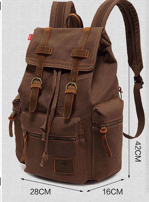 Nouveau haute qualité Vintage toile sac à dos hommes solide moraillon chaîne marque sac à dos rétro cartable sac d'école sac à dos pour ordinateur portable