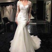 Fnoexw Elegant Beaded Mermaid Wedding Dresses Long Sleeve