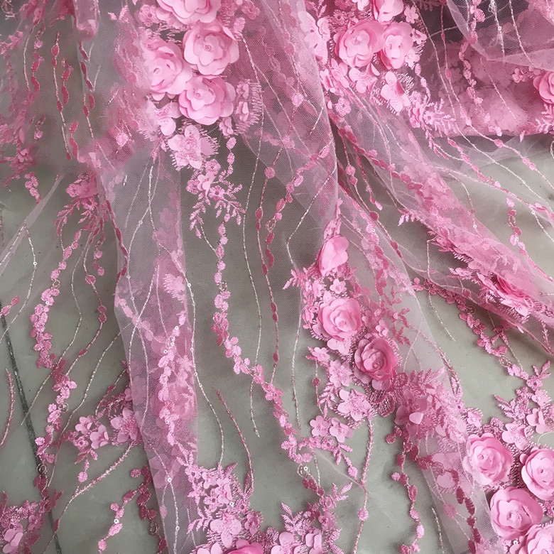 Pink Stereo Flower Lace Fabric Wedding Dress Material Tecido Stoffen Bazin Riche Getzner 2018 Shabby Chic 1 Yard Only