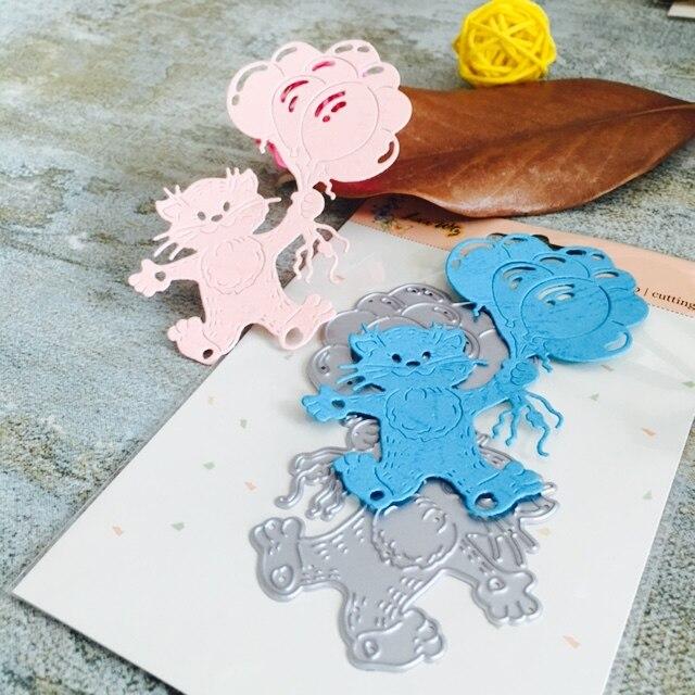 Gato y globos scrapbook DIY álbum Tarjeta de papel fabricante de ...