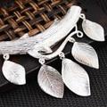Handmade Real 925 Sterling Silver Leaves Tassel Pendant Antique Style for Women