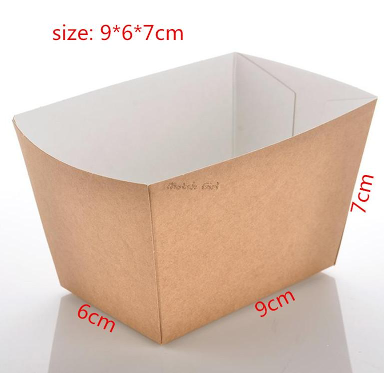 100pcs/lot-9*6*7cm Disposable Kraft Paper French Fries Box Fried Chicken Popcorn Dessert Storage Box DIY Party Food Package