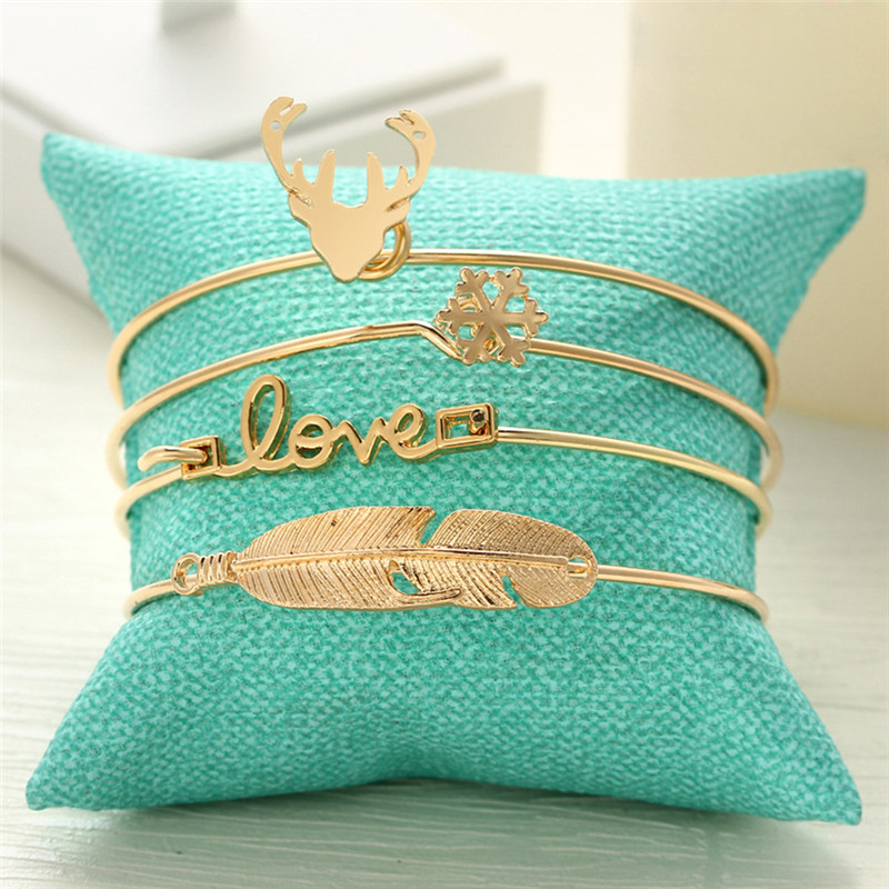 leaf snowflake love deer antlers cuff bangle set fashion jewelry gifts 1set=4pieces B0011