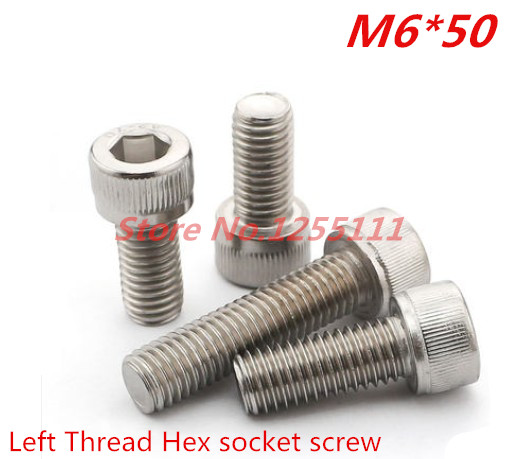 10pcs/lot DIN912 Stainless Steel 304 M6*50 Left Thread  Hex Socket  Cap Head Screw din912 304 stainless steel screw hex socket smooth cup head cylindrical head three combination m2 5 m3 m4 m5 m6 screw washer