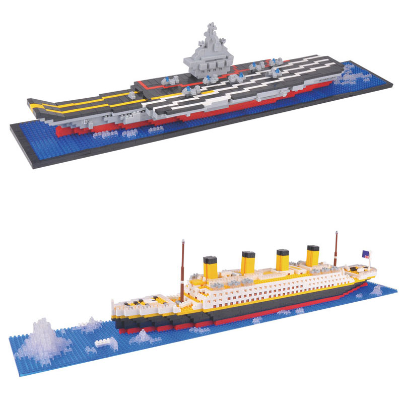 Aircraft Carriers Titanic Building Blocks Ship Model Toys Assembly Diamonds Brick Educational Toys Gift For Children aircraft carrier ship military army model building blocks compatible with legoelie playmobil educational toys for children b0388