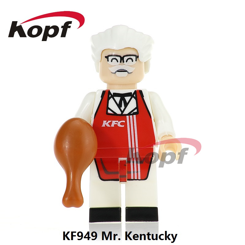 Single Sale Super Heroes Mr. Kentucky Ronald McDonald Mc. Donald Mini Dolls Bricks Building Blocks Children Gift Toys KF949 single sale building blocks super heroes bob ross american painter the joy of painting bricks education toys children gift kf982