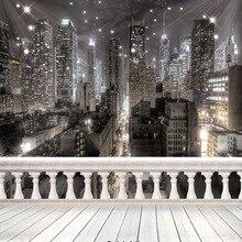 Фон для фотостудии 10x10 футов с изображением ночного города, фон для фотостудии с изображением деревянного пола