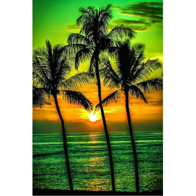 72e93bb4060 Diamond embroidery scenery sunrise Rhinestone painting crystal Home Decor  DIY Diamond painting cross stitch Coconut tree pattern