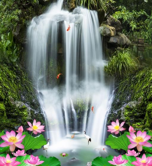 Картинка с водопадами и лотосом