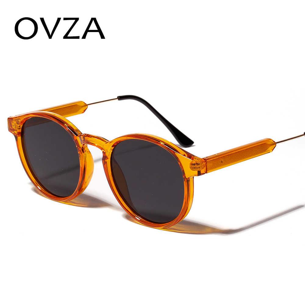 OVZA แว่นตากันแดดผู้หญิง Retro โปร่งใสรอบแว่นตากันแดดผู้ชาย VINTAGE วงกลมแว่นตาแบรนด์คลาสสิก lentes de SOL mujer S1090
