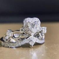 LASAMERO 0.27CT 심장 모양 디자인 18 천개 화이트 골드 라운드 컷 천연 다이아몬드 반지 억양 약혼 결혼 반지