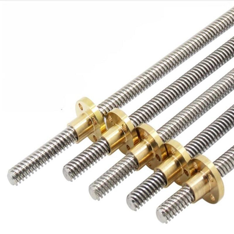2 pcs/lot T8 plomb 8mm filetage Tiges longueur 100 200 300 350 400 500 600/700/800/1000mm pour Prusa I3 3D imprimante et CNC pièces