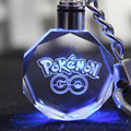 1Pcs Cartoon Toy Poke mon Go Crystal LED Pikachu Kids Action Figure Keychain Pendant 3 * 3 * 1.2cm Birthday Christmas Gift
