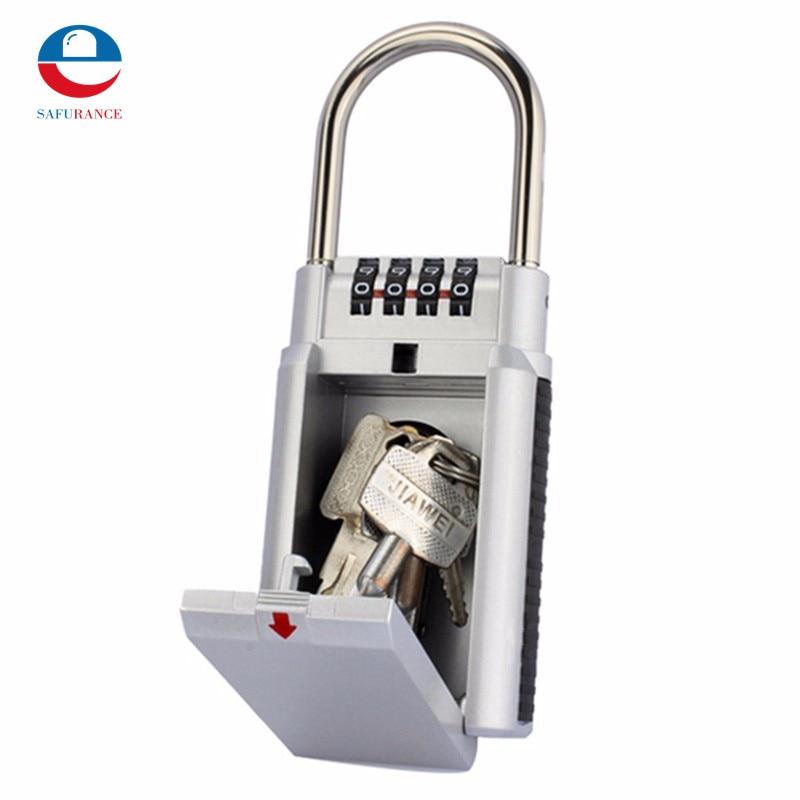 Silver 4 Digit Combination Password Safety Key Box Lock Padlock Storage Keys Organizer Zinc Alloy