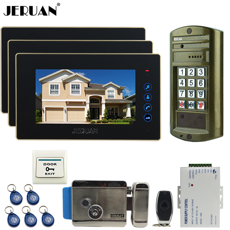 JERUAN 7 inch TOUCH KEY Video DoorPhone Intercom System kit 3 Monitor +NEW Metal waterproof password HD IR Mini Camera +E-lock jeruan wired 7 touch key video doorphone intercom system kit waterproof touch key password keypad camera 180kg magnetic lock
