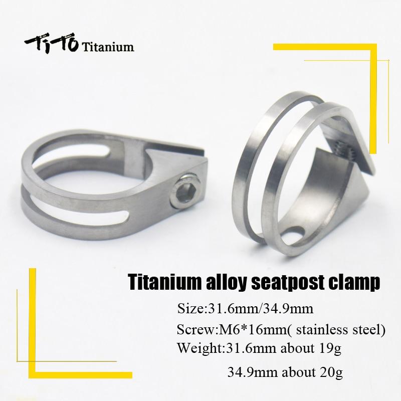 TiTo Bicycle Mountain Titanium Bike Seat Post Road Bicycle Titanium Seatpost Clamps 34.9mm/31.6mm Titanium Alloy Seat Tube Clip