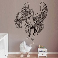 Flying Horse With Wings Wall Sticker For Kids Rooms Animals Horse Silhouette Removable Wall Art Decals