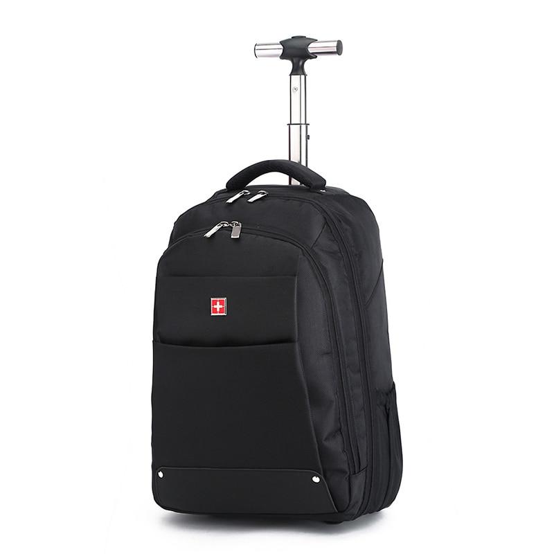 LeTrend Rolling Luggage Travel bag 18 inch Black Shoulder Bags Oxford Computer Backpack Trolley Case Men Cabin Suitcase Wheels