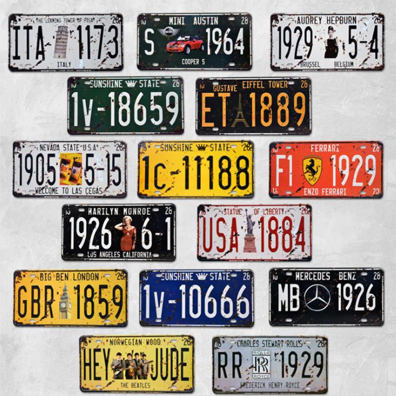 5 قطعة/الوحدة خمر المعادن المشارك سيارة رقم لوحة ترخيص بار نادي جدار ديكور 15*30 cm USA الدراجات النارية حانة المرآب القصدير اللوحات علامات