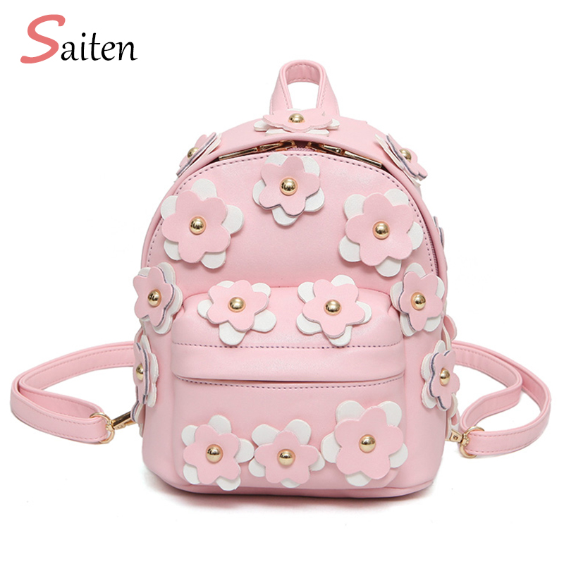 2017 Fashion Women Leather Backpacks Womens Backpack Flowers Bag School Bags For Teenagers Woman back pack Mini Mochila Feminina new fashion game pokemon backpack anime pocket monster school bags for teenagers gengar bag pu leather backpacks rugzak