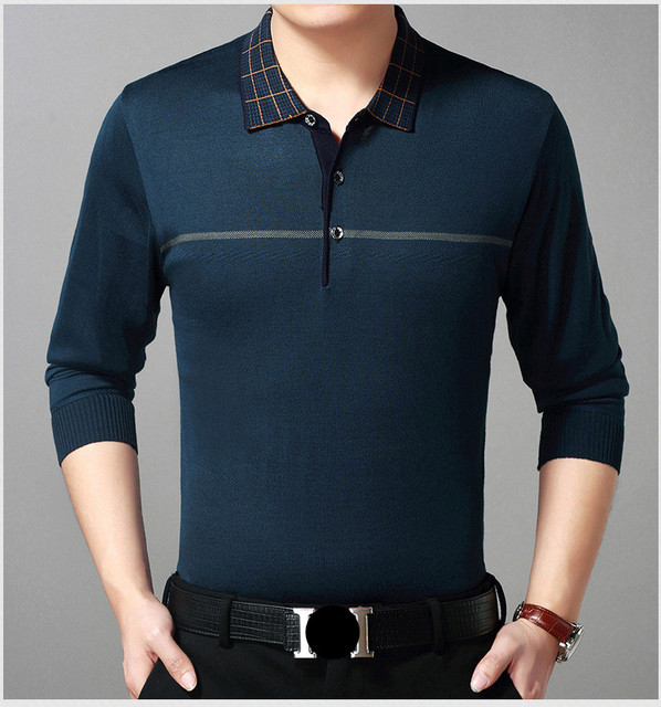 c6dc706149 2019 Lapel Men s Business Casual Long Sleeve Polo Shirt Knit Polo Shirts  Large Size