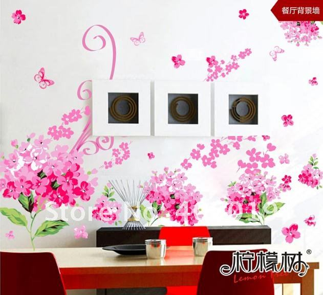 Pink Lover Flower Wall Sticker Transparent Removable PVC Cling ...