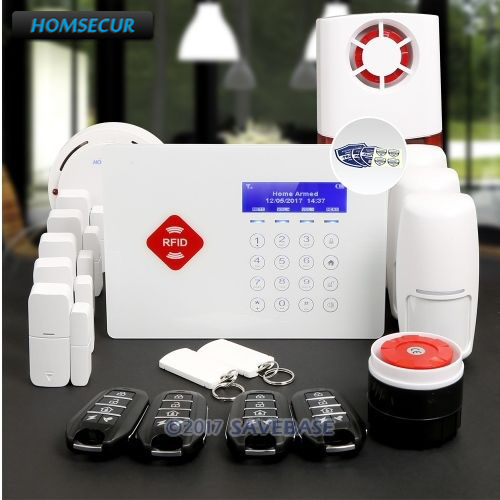HOMSECUR App Controlled Wireless GSM LCD Home Security Alarm System with Red Flash Siren платье fly платье