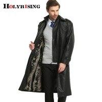 Осень зима брендовая одежда Тренч Для мужчин PU Тонкий длинный Для мужчин S пальто толстая Однобортный длинные мягкие Куртка Черный M 3XL