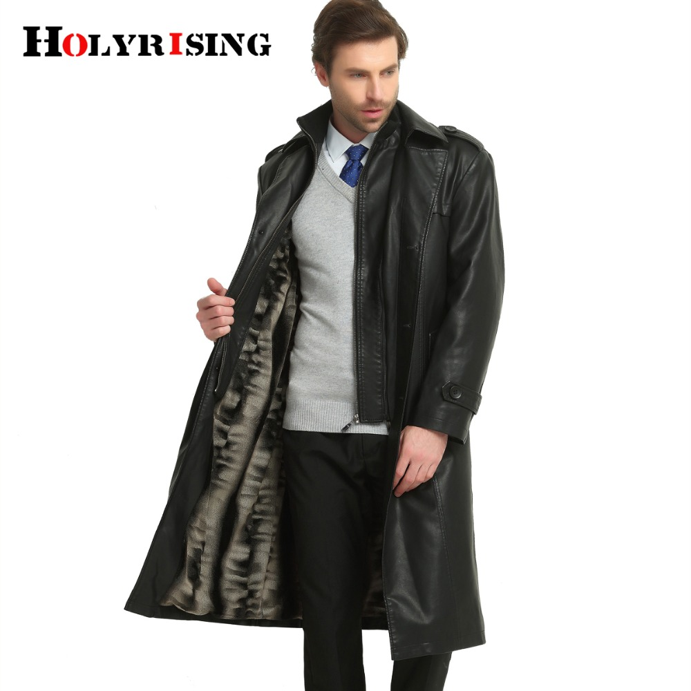 Autumn Winter Brand Clothing   Trench   Coat Men PU Slim Long Mens Overcoat Thick Single Breasted Long Soft Jacket Black M-3XL