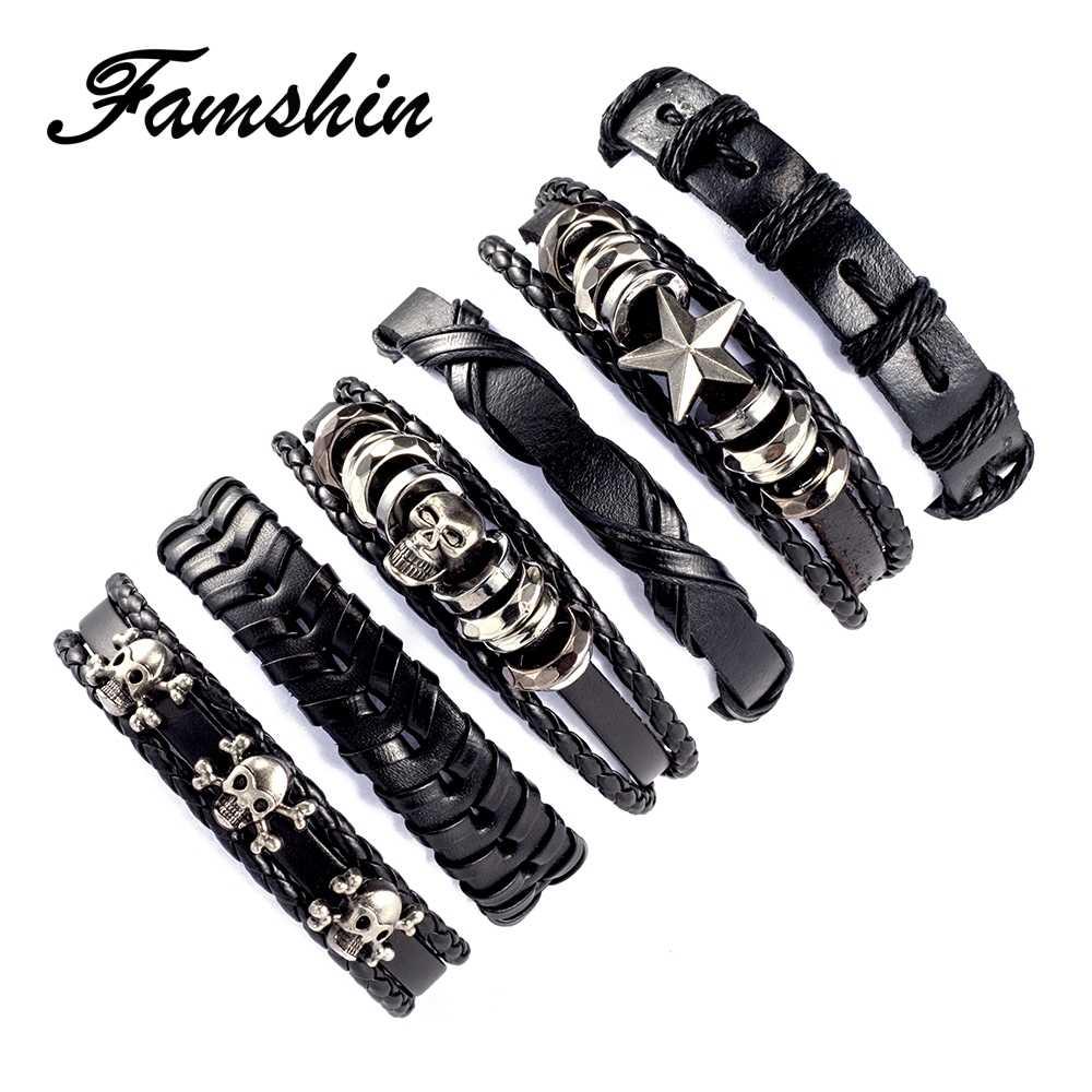 6 unids/set pulsera de cuero multicapa Punk calavera Star Charm Wrap pulseras para mujer Vintage pulseras y brazaletes hombres