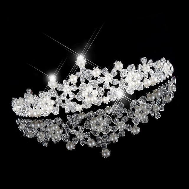 Bling Princess Crown Hair Jewelry Bridal Wedding Accessories for Women Bride  Diadem Pearls Headband Girls Tiara Hair Ornaments be07f46877b6
