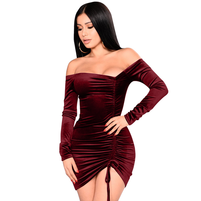 9f7e763ac64 Lift Up Drawstring Ruched Women Velvet Dresses Sexy Off Shoulder Long  Sleeve Wrap Party Dress Elegant