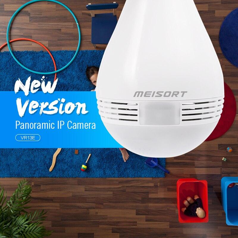 Meisort LED Fisheye Panoramic IP Camera wifi wireless Security Camera Surveillance Indoor Bulb wi-fi Camera CCTV two way Webcam