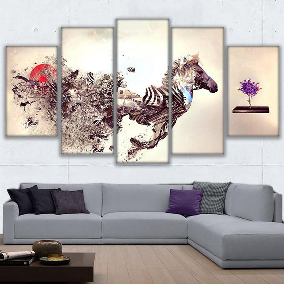 Parete artistica con cornice 5 pezzi astratta moderna hd for Quadri parete