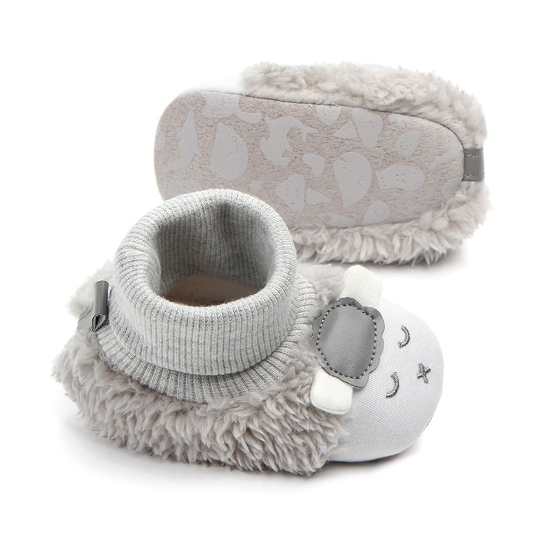 Fashion Toddler Newborn Baby Crawling Shoes Boy Girl Lamb Slippers Prewalker Trainers Fur Winter Animal Ears First Walker