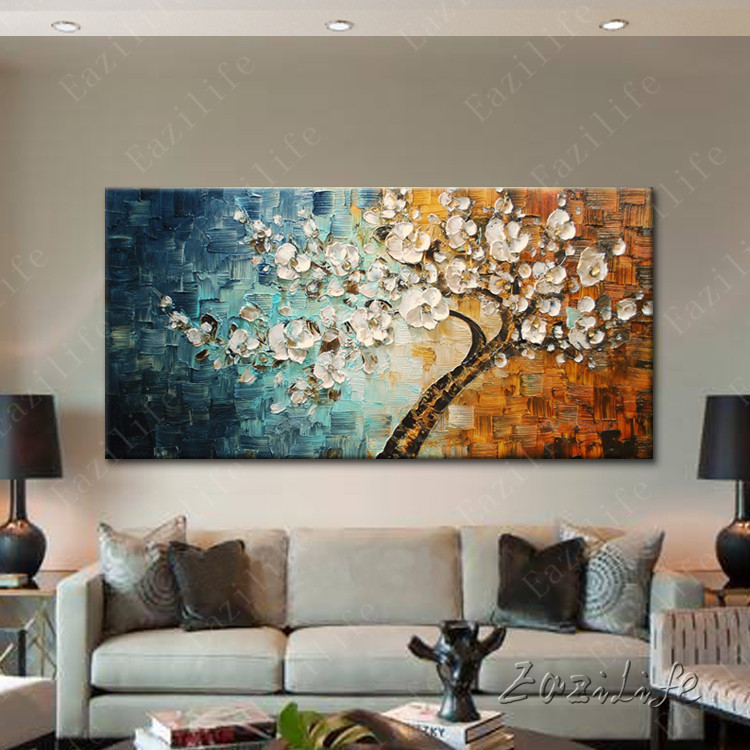US $49 0 |Tree Hand Painted palette knife 3D texture flower Canvas Oil  Painting Wall Art Pictures For Living Room home decor cuadros-in Painting &