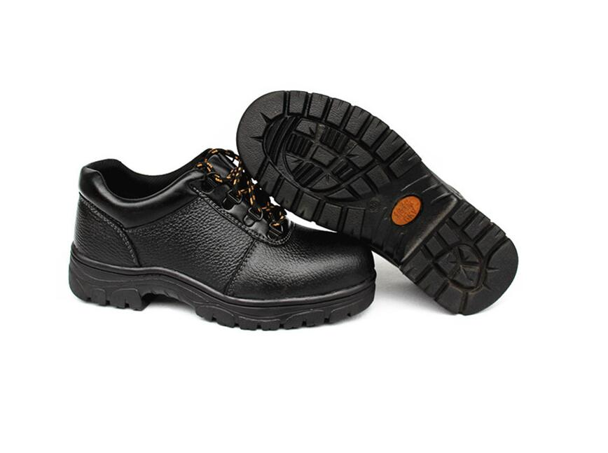 Microfiber leather breathable anti-mite wear-resistant oil-resistant acid and alkali low to help safety work shoes