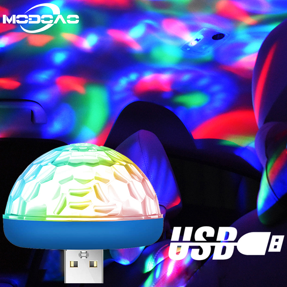 Car USB Atmosphere Light Decorative Lamp Car Interior Lights DJ RGB Mini Colorful Music Sound Lamp for Festival Party Karaoke