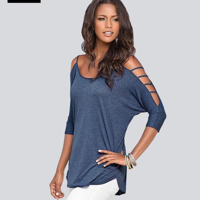 Mujeres de la camiseta tops tees summer hombro t-shirt de Algodón camiseta mujer ropa poleras de mujer camisetas femininas más tamaño