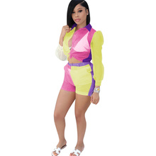Adogirl Color Patchwork Sheer Organza Two Piece Set Long Sleeve Shirts Blouse Crop Top + Shorts Women Fashion Sexy Outfits Suit