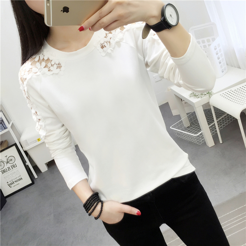 New Spring Clothing Long Sleeve T Shirt Female Long Loose