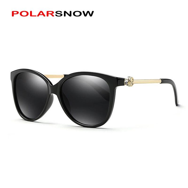 POLARSNOW Alloy+PC Sunglasses Polarized Lens Womens Fashion Sun Glasses Vintage Luxury Eyewear Accessories Oculos Feminino