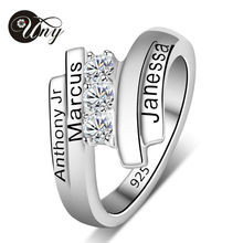 UNY Personalized Special Anniversary Gift Mother' S Engravable Simulated Birthstone Ring In Sterling Silver (3 Stones And Names