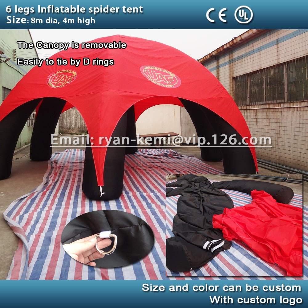 removable canopy inflatable spider tent