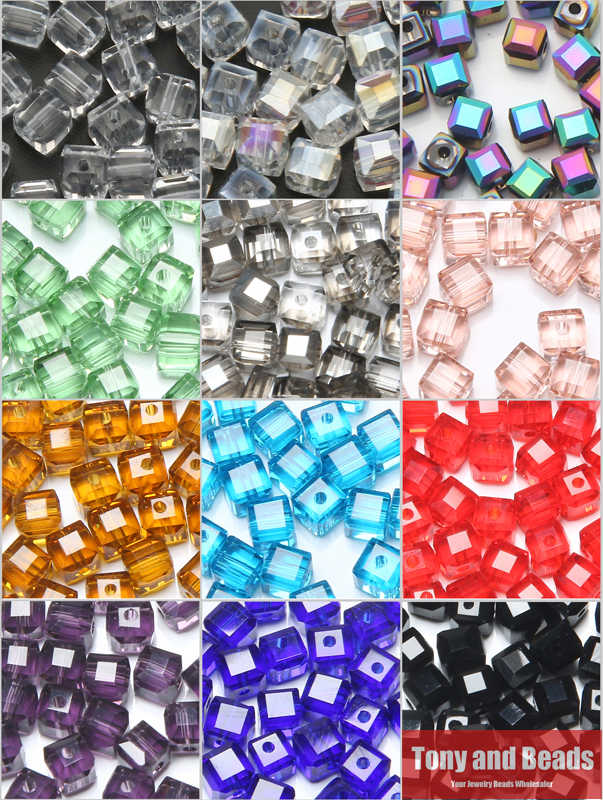 100Pcs/Lot  4mm Square Faceted Glass Crystal Spacer Beads For Jewelry Making 17Colors In Total Free Shipping