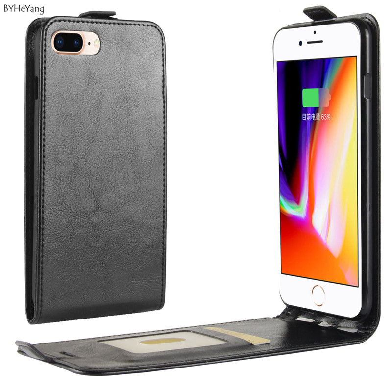 BYHeYang Case For iPhone 8 plus 5.5 protective case Luxury Flip Wallet shell PU Leather Cover for for iPhone 7 plus Case & Bag
