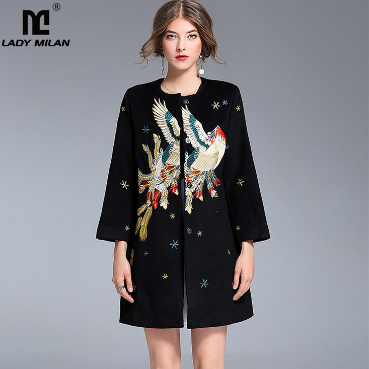 New Arrival 2018 Womens O Neck Long Sleeves Embroidery Elegant High Street Runway Woolen Coats Outerwear