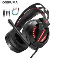 ONIKUMA M180 PS4 Headsets Gaming Headset For PC Gamer Playstation 4 Laptop Computer Gaming Headphones With Microphone Mic LED