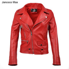 Jancoco Max 2019 Spring Autumn Genuine Leather Jacket Womens Clothing Classic Black Coat New Arrival S8004